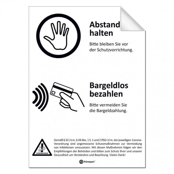 Abstandhalten-Aufkleber für Schutzwände | DIN A5 transparent